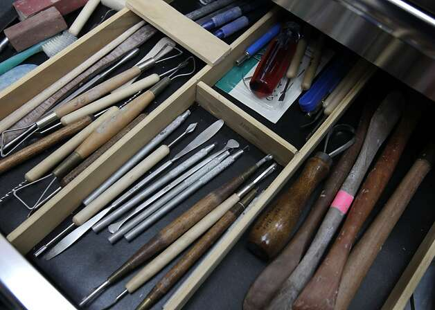 Sculpting tools are organized in Rob Firmin's studio in Kensington, Calif. on Tuesday, March 5, 2013. Firmin collaborated with Eugene Daub on a sculpture of Rosa Parks, which is recently dedicated in Washington, D.C. Photo: Paul Chinn, The Chronicle