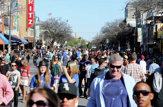 Crowds meander on 6th Street during South by Southwest Tuesday March 12, 2013 in Austin, TX. Photo: Edward A. Ornelas, San Antonio Express-News / © 2013 San Antonio Express-News
