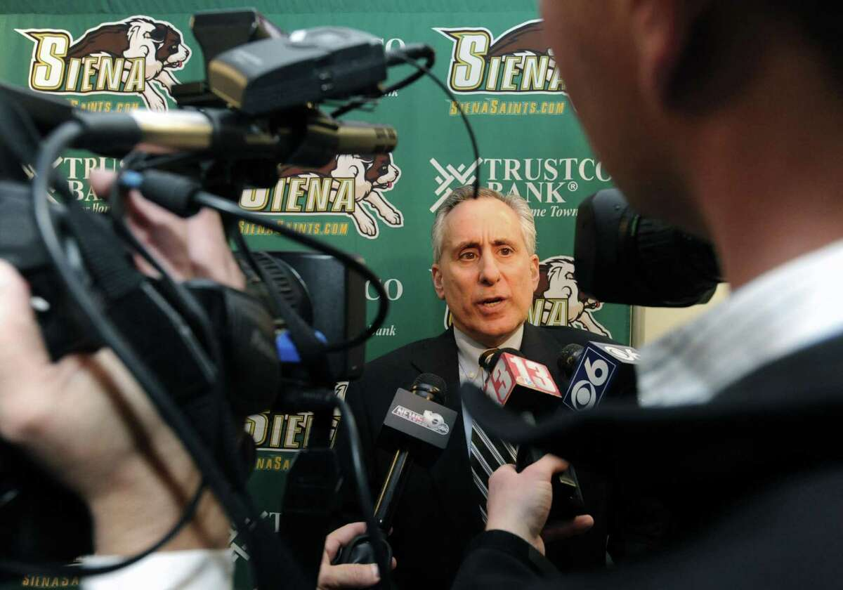 Siena College athletic director John D'Argeno comments on the head basketball coach Mitch Buonaguro being relieved of his duties during a press conference at the college on Tuesday March 12, 2013 in Loudonville, N.Y. (Michael P. Farrell/Times Union)