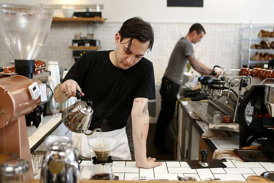 Blue Bottle does it, Ritual does it, Four Barrel does it, and local restaurants have embraced it, too. It's the third-wave coffee movement. It's delicious coffee served in compostable cups or single-serving glass pots.  Photo: Beck Diefenbach, Special To The Chronicle
