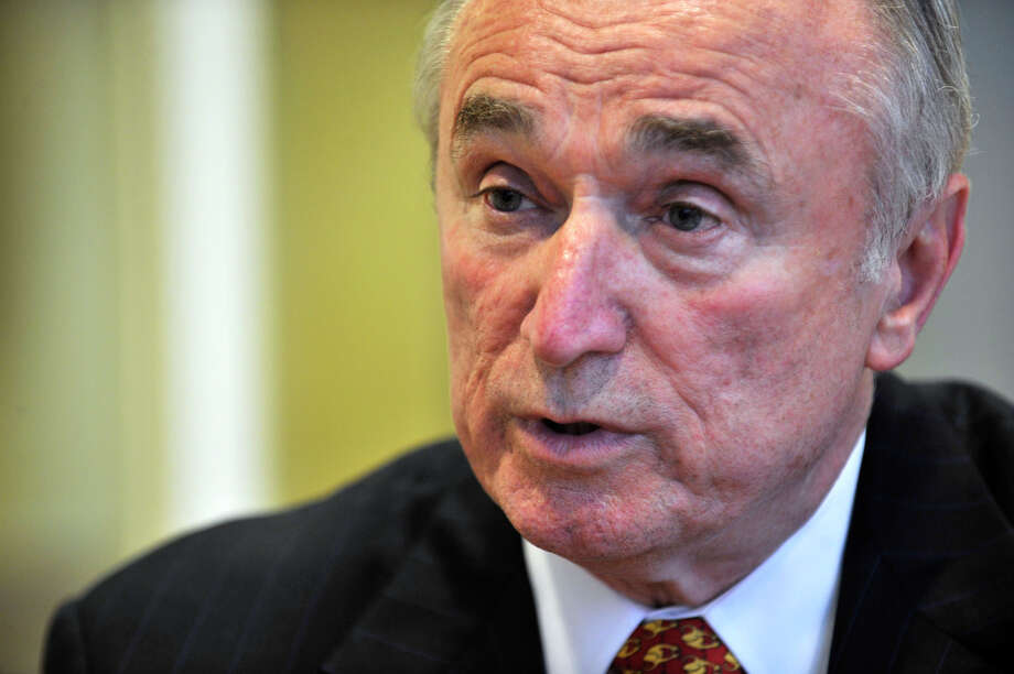 William Bratton speaks with the media before giving a speech on civility in law enforcement at the Ferguson Library in Stamford on Tuesday, March 12, 2013. Bratton's speech is part of a series on Civility in America that is co-sponsored by Hearst Media Group. William Bratton is the former New York City and Boston police commissioner and the former police chief of Los Angeles. Photo: Jason Rearick / The Advocate