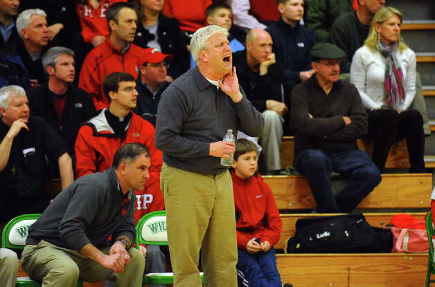 Fairfield Prep Head Coach Leo Redate, during Class LL boys basketball semifinal action against East Hartford in Waterbury, Conn. on Tuesday March 12, 2013. Photo: Christian Abraham / Connecticut Post