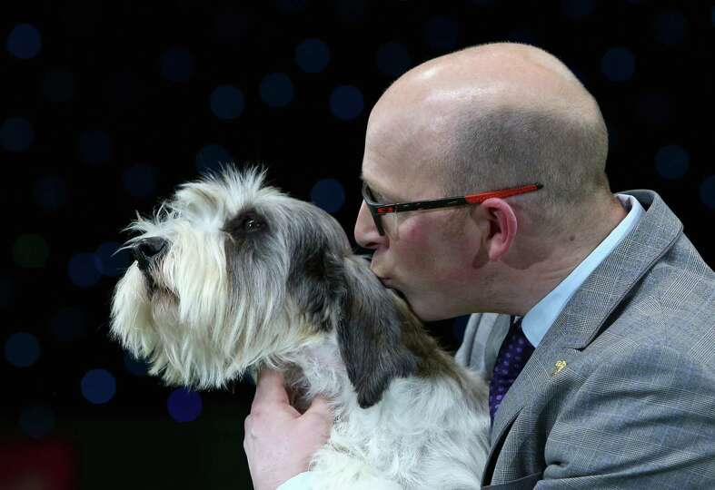Gavin Robertson with Jilly, a Basset Griffon Vendeen, as they celebrate winning the Best in Show cat