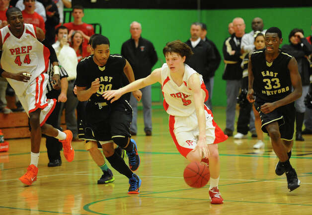 Fairfield Prep's #5 Thomas Nolan, during Class LL boys basketball semifinal action against East Hartford in Waterbury, Conn. on Tuesday March 12, 2013. Photo: Christian Abraham / Connecticut Post