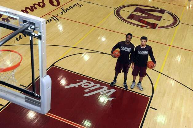 Watervliet High School basketball senior guards Tyler McLeodon, left, and Jordan Gleason on Tuesday March 12, 2013 in Watervliet, N.Y. (Michael P. Farrell/Times Union) Photo: Michael P. Farrell