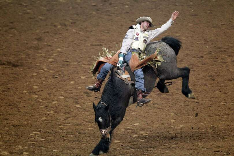 Jason Havens competes in Bareback Riding during the BP Super Series V Championship at Reliant Stadiu