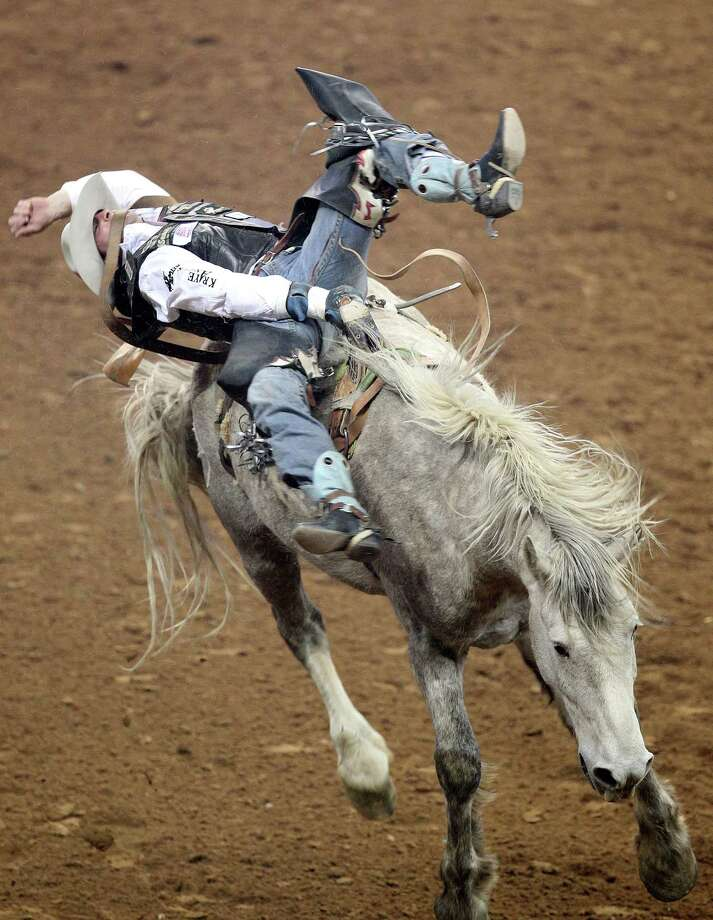 Steven Dent competes in Bareback Riding during the BP Super Series V Championship at Reliant Stadium on Tuesday, March 12, 2013, in Houston. Photo: Mayra Beltran, Houston Chronicle / © 2013 Houston Chronicle