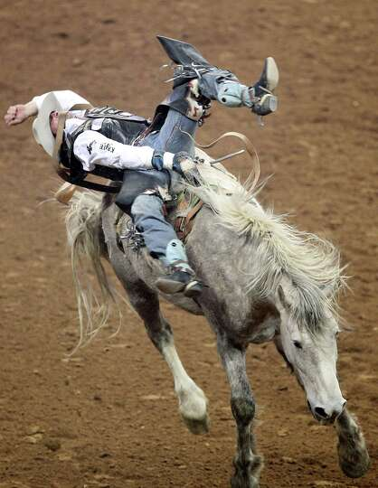 Steven Dent competes in Bareback Riding during the BP Super Series V Championship at Reliant Stadium