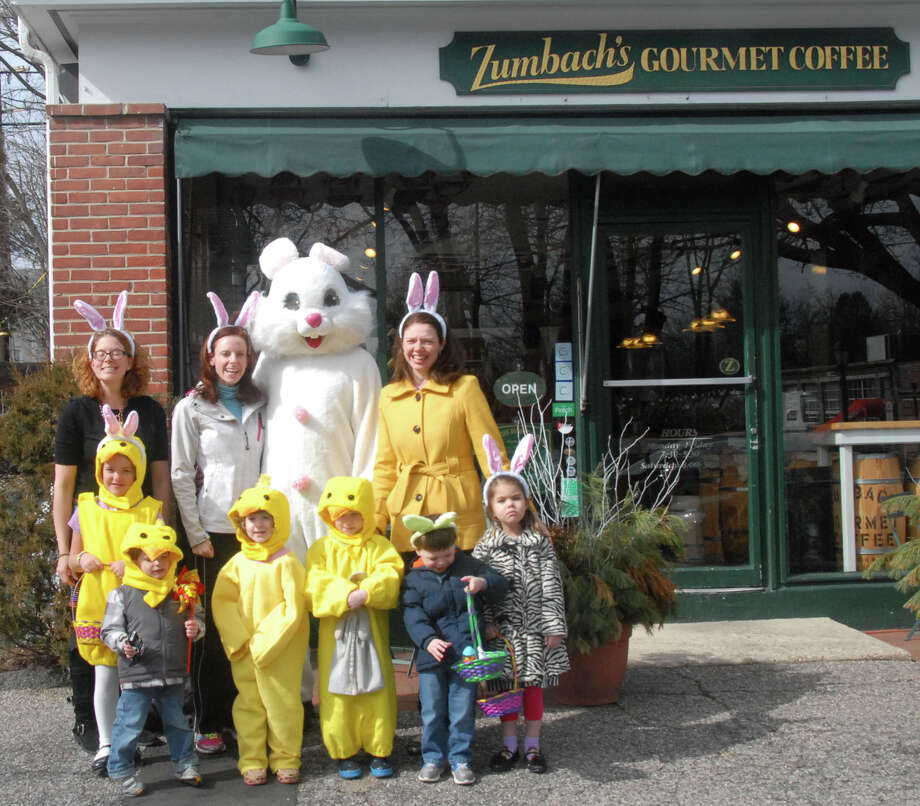 Saturday: The Young Women's League of New Canaan will hold its 40th annual Easter egg hunt at Waveny Park. Above, league members and their children preparing for the event in front of Zumbach's Gourmet Coffee, one of the sponsors. Photo: Contributed Photo