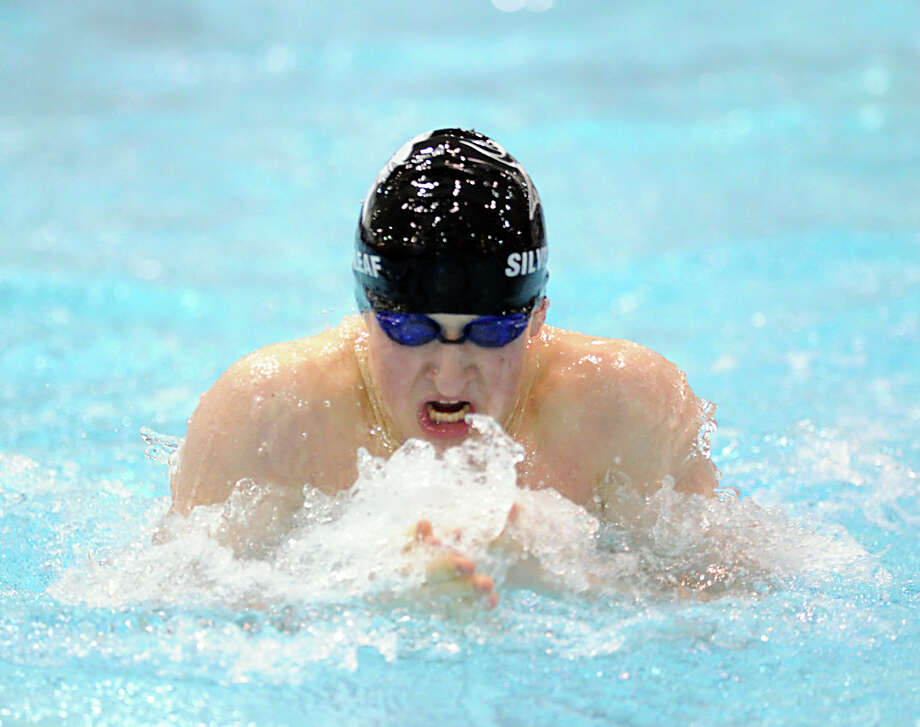 Ben Silverleaf of Westhill/Stamford Combined swims the breaststroke leg in the 200 medley relay during the Class LL boys swimming championship at Wesleyan University, Middletown, Conn., Tuesday, March 12, 2013. Photo: Bob Luckey / Greenwich Time