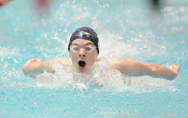 Daniel Williams of Staples competes in the 200 IM event during the Class LL boys swimming championship at Wesleyan University, Middletown, Conn., Tuesday, March 12, 2013. Photo: Bob Luckey / Greenwich Time