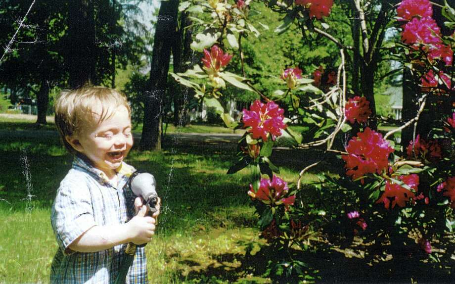 Quinn Hapeman, the grandson of Betty Papa of Loudonville, was helping his papa water flowers in the front lawn and pushed the wrong button. (Betty Papa)