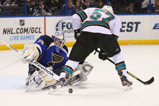 ST. LOUIS, MO - MARCH 12: Jake Allen #34 of the St. Louis Blues makes a save against Tommy Wingels #57 of the San Jose Sharks at the Scottrade Center on March 12, 2013 in St. Louis, Missouri.  (Photo by Dilip Vishwanat/Getty Images) Photo: Dilip Vishwanat, Getty Images