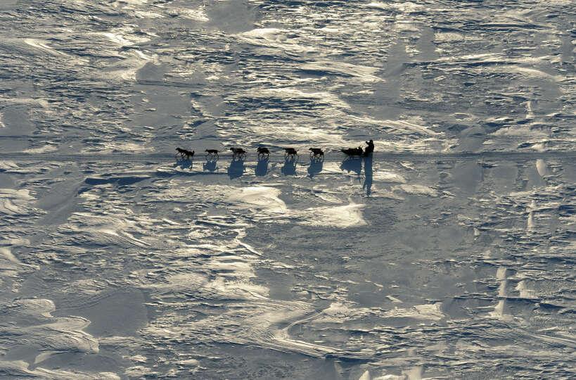 A musher drives a dog team towards the Koyuk checkpoint in Alaska during the Iditarod Trail Sled Dog