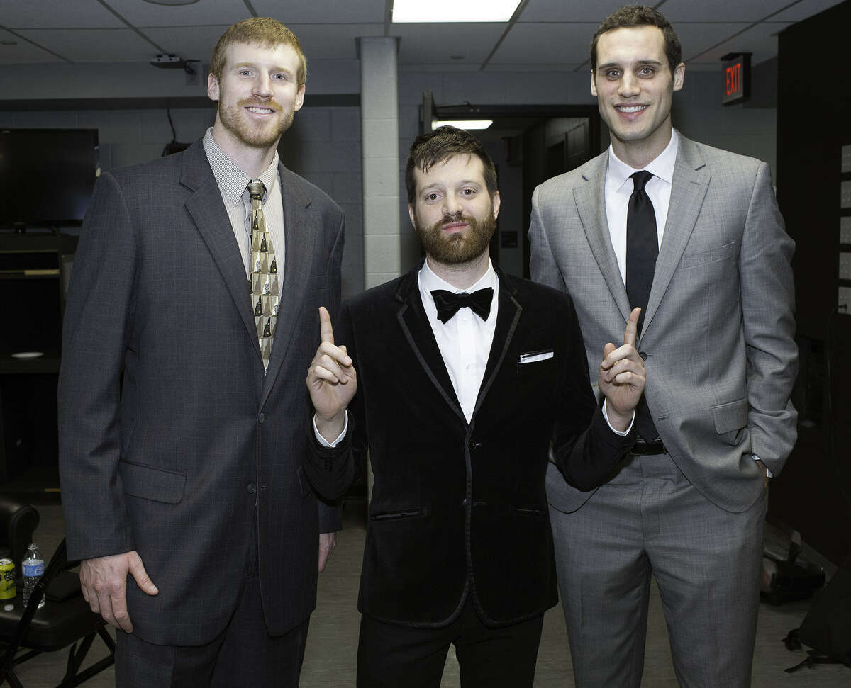 """Musician Mayer Hawthorne (center) flanks the Spurs' Matt Bonner (left) and his brother Luke during last Saturday's """"Tux 'N Tennies"""" fundraiser at the AT&T Center. The brothers will host """"Sneakers and Speakers,"""" an unofficial SXSW event, from noon to 6 p.m. today at Club De Ville."""