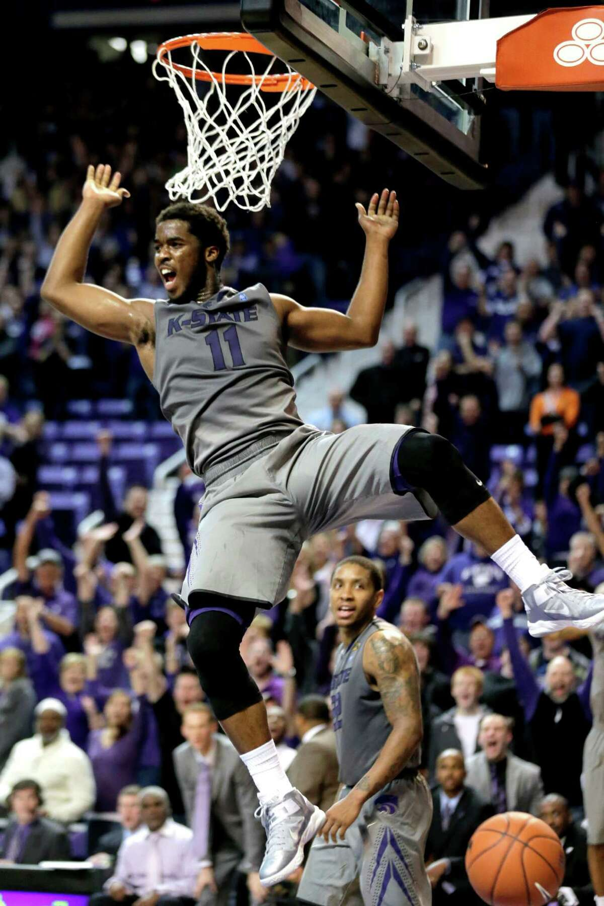 Kansas State (25-6, 14-4) Best Big 12 finish: Lost in the final in 2010 Best wins: Florida (67-61), Oklahoma State (73-67), Baylor (81-61) Worst loss: at Kansas (83-62) Player to watch: G-F Rodney McGruder - He might be overlooked by many, but McGruder is KSU's offensive and defensive catalyst. His experience and confidence will be critical in their post-season hopes. Chance of moving on: The Wildcats have been the conference's biggest surprise this season. They can score with anybody but need better lockdown defense if they have any hopes of securing their first Big 12 title. PHOTO: Kansas State forward Nino Williams dunks the ball during the second half against Oklahoma State Jan. 5, 2013, in Manhattan, Kan. Kansas State won 73-67.