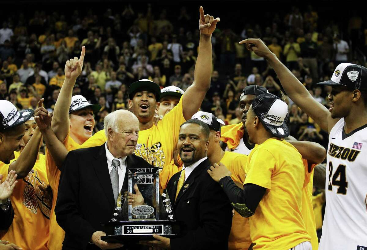 Without a defending champion after Missouri's departure from the Big 12 last year, the 2013 Big 12 men's basketball tournament kicks off Wednesday and runs through Saturday in Kansas City. San Antonio Express-News staff writer Tim Griffin breaks down each of the teams as they head in to the competition. At a glance When: Today-Saturday, at Sprint Center in Kansas City, Mo. Today's first-round games: No. 8 seed West Virginia vs. No. 9 Texas Tech, 6 p.m., KCWX; No. 7 Texas vs. No. 10 TCU, 8:30 p.m., KCWX Thursday's quarterfinals: No. 4 Oklahoma vs. No. 5 Iowa State, 11:30 a.m., ESPN2; No. 1 Kansas vs. W.Va. or Tech, 2 p.m., ESPN2; No. 2 Kansas State vs. UT or TCU, 6 p.m., KCWX; No. 3 Oklahoma State vs. No. 6 Baylor, 8:30 p.m., KCWX Friday's semifinals: 6:30 and 9 p.m. Saturday's final: 5 p.m. PHOTO: Big 12 Interim commissioner Chuck Neinas presents head coach Frank Haith and the Missouri Tigers with the trophy after they defeated Baylor 90-75 to win the 2012 Big 12 Championship at the Sprint Center on March 10, 2012, in Kansas City, Mo.