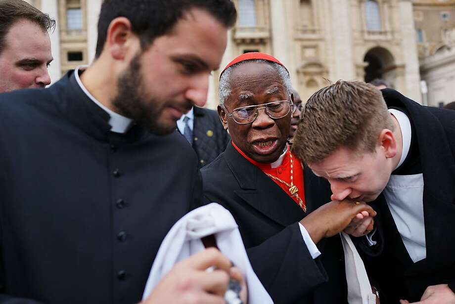Cardinal Francis Arinze, 80, of Nigeria exits St Peter's Basilica after he attended the Pro Eligendo Romano Pontifice Mass before he and the other Cardinals will enter the conclave to decide who the next pope will be on March 12, 2013 in Vatican City, Vatican. Cardinals are set to enter the conclave to elect a successor to Pope Benedict XVI after he became the first pope in 600 years to resign from the role. The conclave is scheduled to start on March 12 inside the Sistine Chapel and will be attended by 115 cardinals as they vote to select the 266th Pope of the Catholic Church.  Photo: Spencer Platt, Getty Images