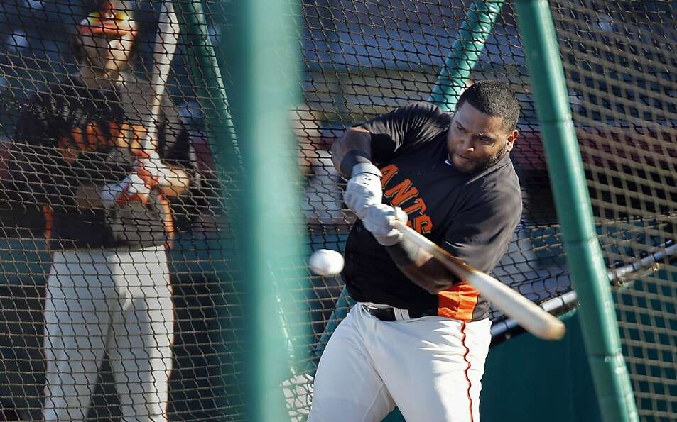 Giants' Pablo Sandoval, (48) taking batting practice during pre-game workouts as the San Francisco G