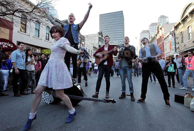 The band Skinny Lister, from London, England, performs on 6th Street during South by Southwest Tuesday March 12, 2013 in Austin, TX. Photo: Edward A. Ornelas, San Antonio Express-News / © 2013 San Antonio Express-News