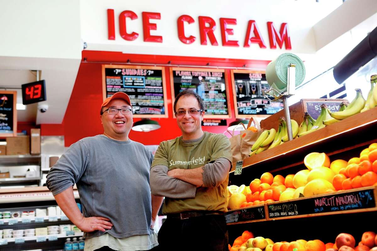 Co-owners of Bi-Rite market, Calvin Tsay (left) and Sam Mogannam photographed at the new store at 550 Divisadero on Tuesday, March 12, 2013 in San Francisco, Calif.
