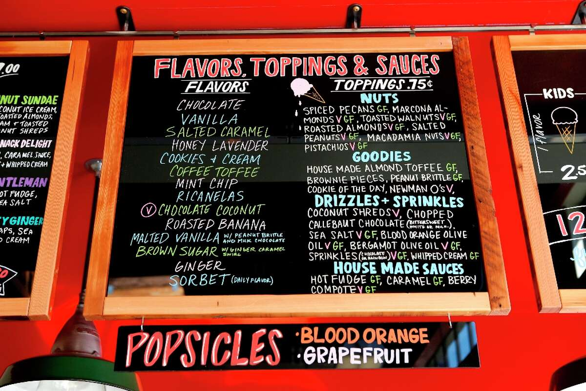 Ice cream flavors and toppings at the new Bi-Rite market at 550 Divisadero on Tuesday, March 12.