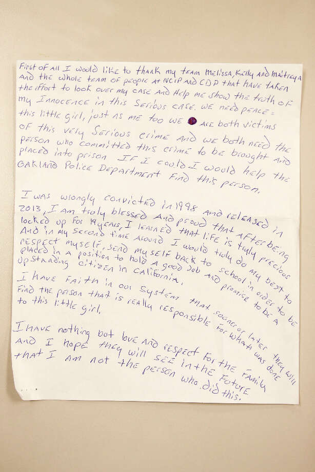 A letter Johnny Williams, of East Oakland, wrote after he was recently exonerated for a crime he just finished 14 years serving in prison for - Innocence Project offices on Tuesday, March 12, 2013 in Santa Clara, Calif. Photo: Beck Diefenbach, Special To The Chronicle / ONLINE_YES