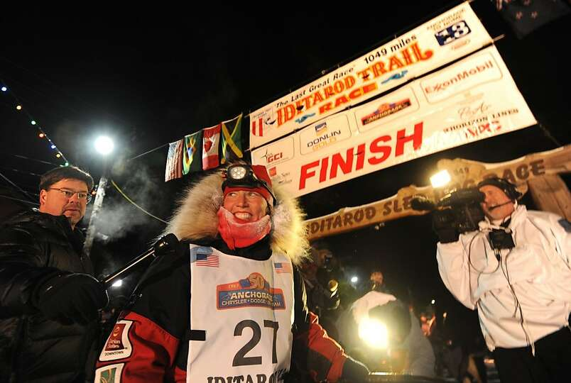 Aliy Zirkle finished second in the Iditarod for the second consecutive year when her dog team crosse