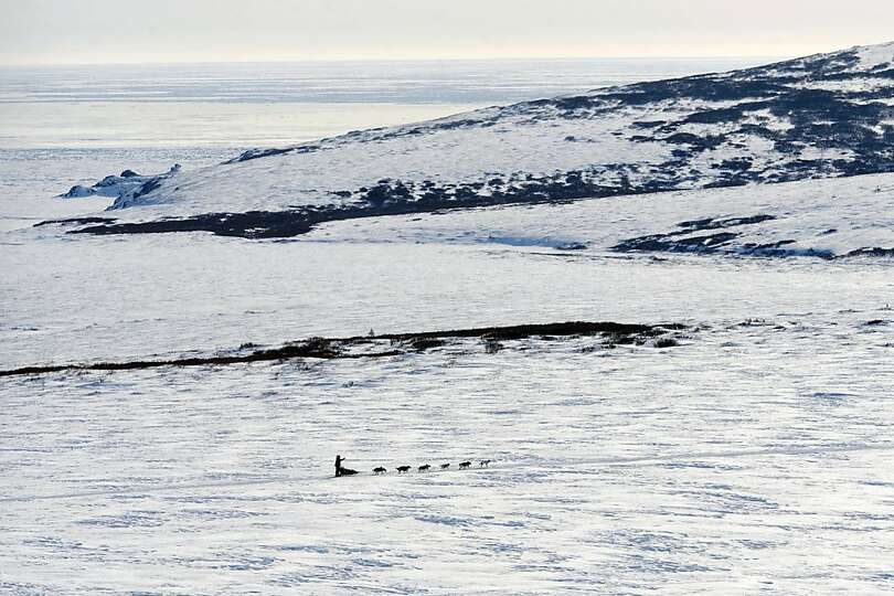 Aliy Zirkle drives her dog team towards the burled arch in Nome, Alaska, Tuesday, March 12, 2013, du