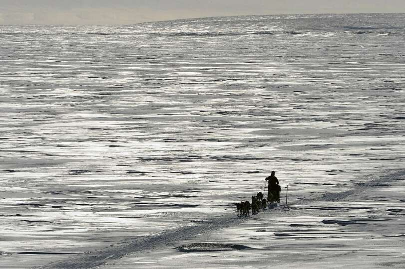Sonny Lindner makes his way towards the Koyuk checkpoint in Alaska during the Iditarod Trail Sled Do