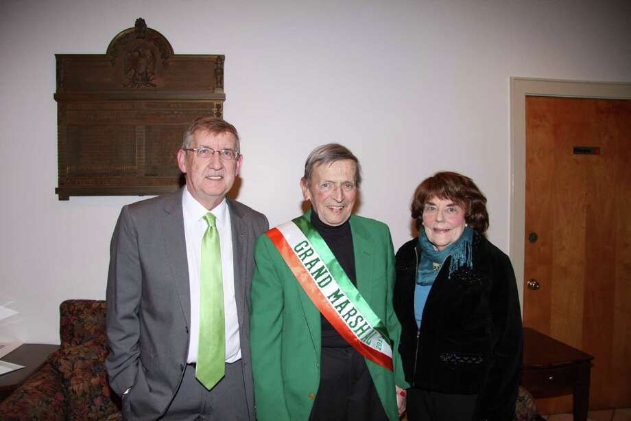 "William ""Billy"" Connolly, center, was recently named the 2013 Greenwich St. Patrick's Parade Grand Marshal by the Greenwich Hibernian Association. Here, Connolly is joined by Greenwich Hibernian Association President Haydn O'Shea, left, and Parade Chair Patricia Wilson. Photo: Contributed Photo"