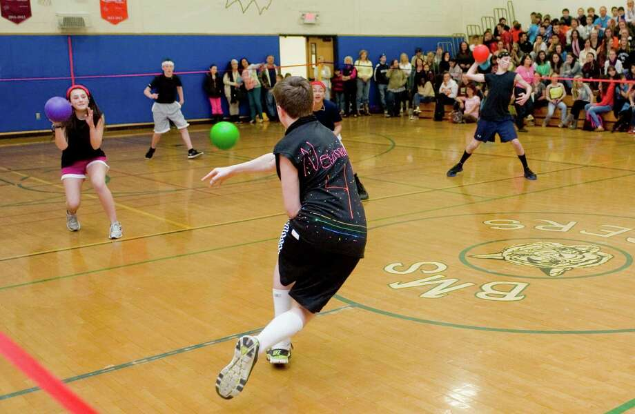 Bethel Middle School 7th and 8th graders square off in TigerBall, a double elimination dodgeball tournament at the Middle School. 145 kids on 29 teams compete. All the proceeds go to the SCOTTY Fund, a Bethel charity that provides financial and family support to children with life-threatening or critical illness. Tuesday, Mar. 12, 2013 Photo: Scott Mullin / The News-Times Freelance