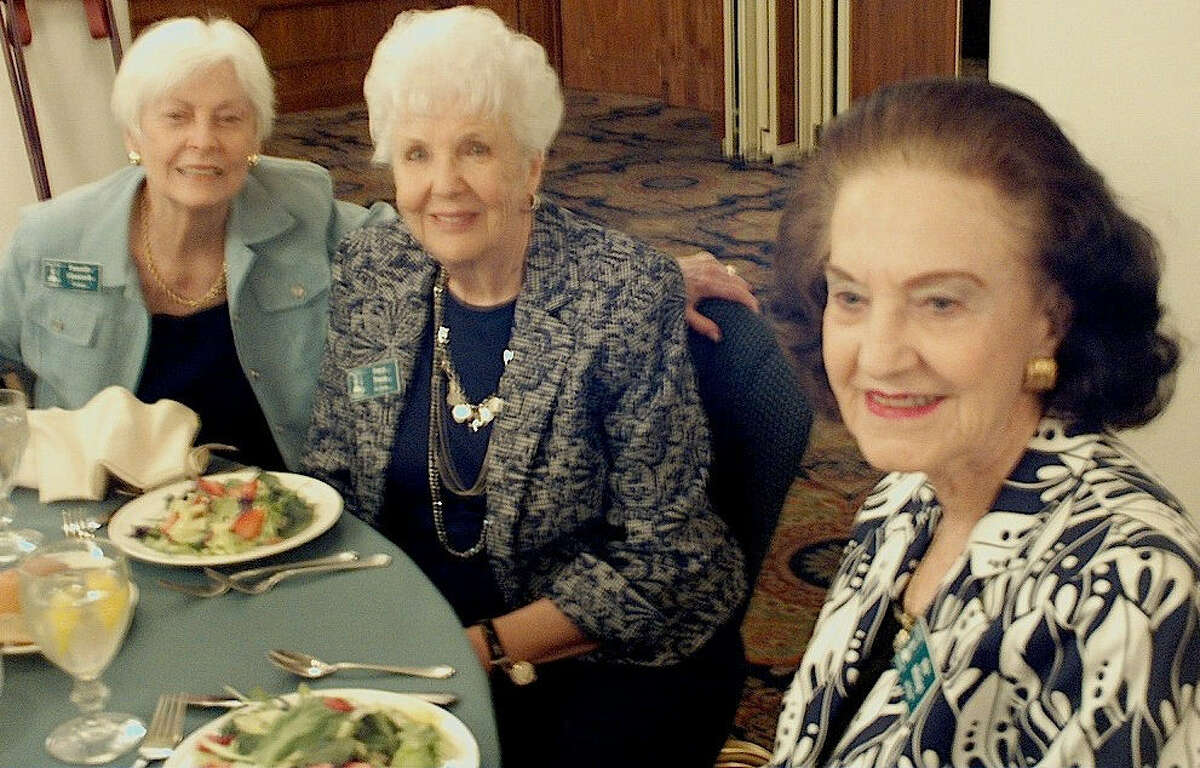Ramelle Glasscock (from left), Gerry Young and Nita Whiting enjoy the monthly luncheon of the Military-Civilian Club of San Antonio, hosted by military members at Joint Base San Antonio-Randolph.