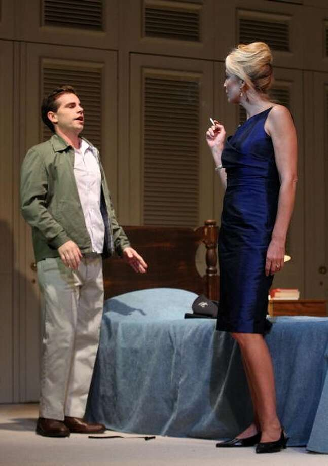 American actress Jerry Hall and actor Rider Strong perform during rehearsal's in the stage play of 'The Graduate' in 2010. (Paul Kane/Getty)