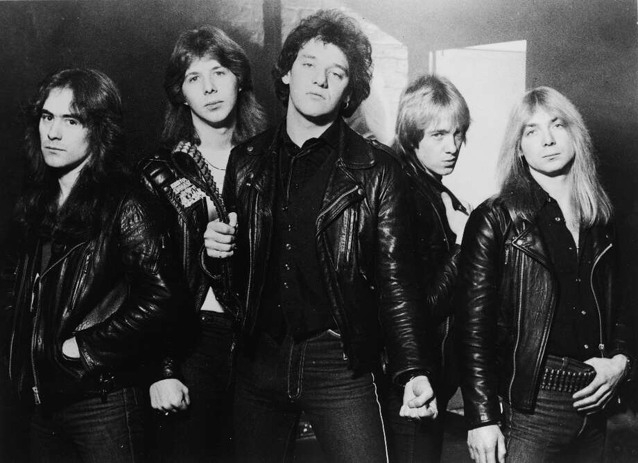 Promotional portrait of British heavy metal group, Iron Maiden, 1981: (L-R) Steve Harris, Clive Burr, Paul Di'Anno, Adrian Smith, and Dave Murray. Photo: Hulton Archive, Getty Images / 2004 Getty Images