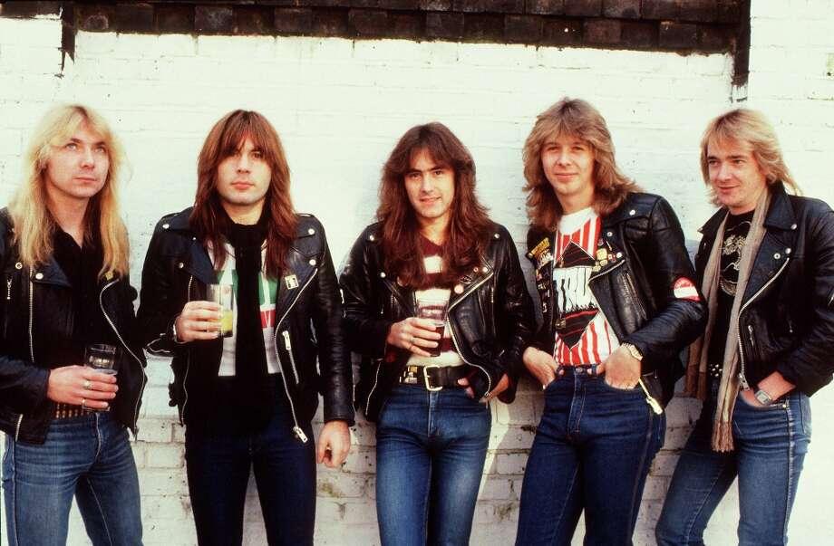Iron Maiden, group portrait, Islington, 1982, clockwise from bottom left . Photo: Michael Putland, Getty Images / 1982 Michael Putland