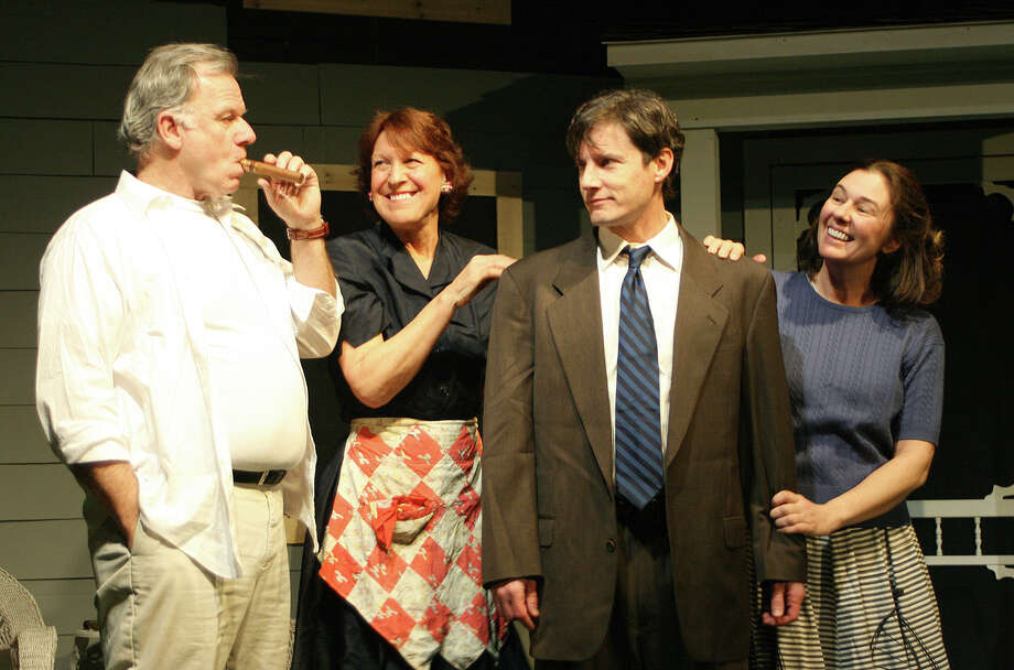 The Kellers (Will Jeffries and Nancy Sinacori), have a tense reunion with their former neighbor, George (Chris Luongo) and his sister Ann (Dianna Waller), in the Arthur Miller classic, ìAll My Sons,î playing at the Theater Barn through March 23. Photo: Contributed Photo