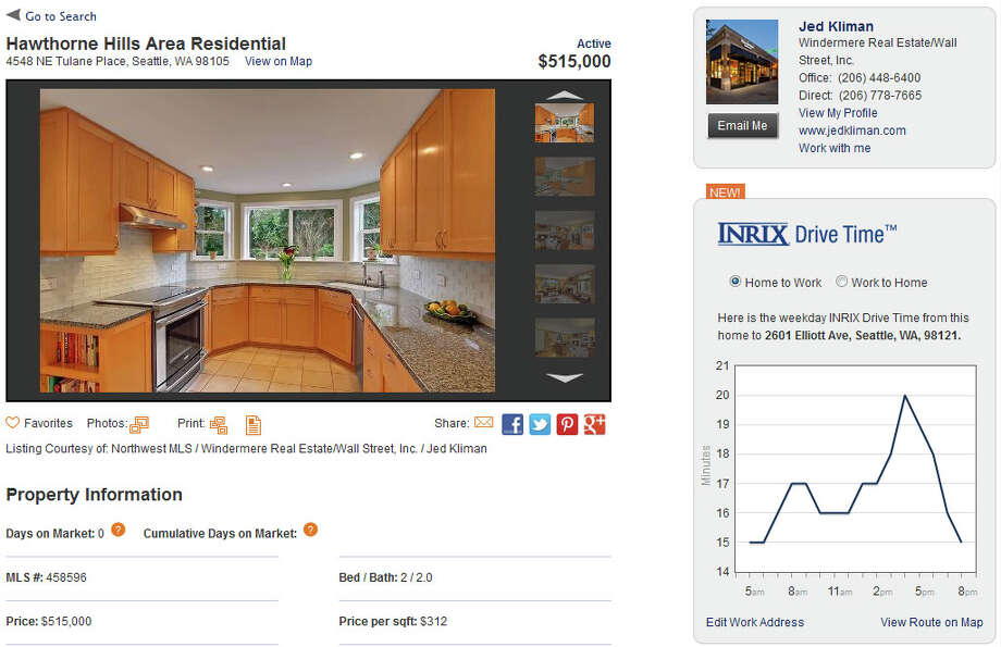 A Windermere Real Estate listing, showing the new INRIX Drive Time feature on the right side of the page. Photo: Windermere Real Estate