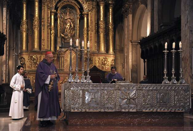 Argentine Archbishop Jorge Bergoglio celebrates a mass for Ash Wednesday, opening Lent, the forty-day period of abstinence and deprivation for the Christians, before the Holy Week and Easter, on February 13, 2013 at the Metropolitan Cathedral in Buenos Aires, Argentina. Bergoglio is a candidate to succeed Pope Benedict XVI. Photo: Juan Mabromata, AFP/Getty Images