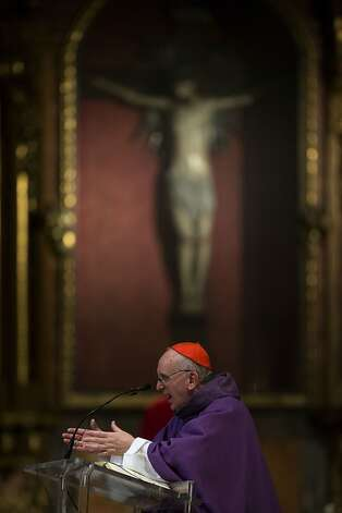 The Archbishop of Buenos Aires, Cardinal Jorge Mario Bergoglio leads a mass at the Metropolitan Cathedral in Buenos Aires, Argentina, Thursday, Feb. 14, 2013.  About 40 percent of the world's Catholics live in Latin America. It suggests that if the cardinals who will elect the next pope are willing to look outside Europe, their first choice might be Central or South America, which brings 19 cardinals to the conclave. Bergoglio has been mentioned as papal possibility to succeed Pope Benedict XVI. Photo: Natacha Pisarenko, Associated Press