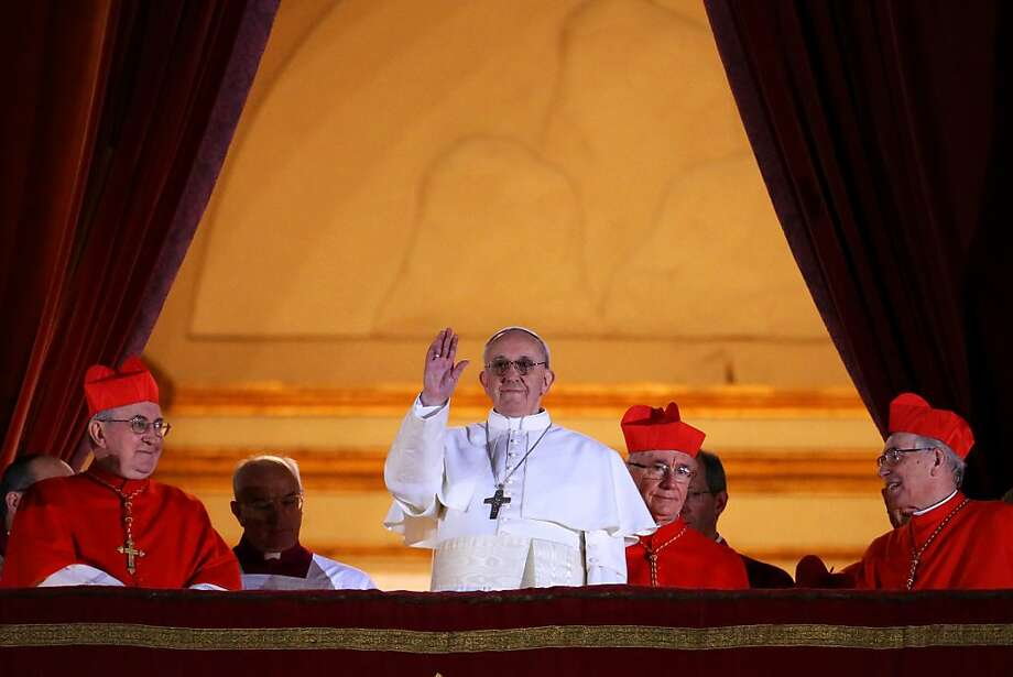 VATICAN CITY, VATICAN - MARCH 13:  Newly elected Pope Francis I appears on the central balcony of St Peter's Basilica on March 13, 2013 in Vatican City, Vatican. Argentinian Cardinal Jorge Mario Bergoglio was elected as the 266th Pontiff and will lead the world's 1.2 billion Catholics.  (Photo by Peter Macdiarmid/Getty Images) Photo: Peter Macdiarmid, Getty Images