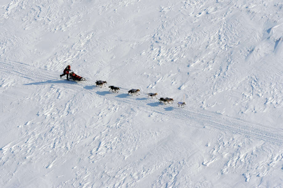 Aliy Zirkle drives her dog team towards the burled arch in Nome, Alaska, Tuesday, March 12, 2013, during the Iditarod Trail Sled Dog Race. Photo: Bill Roth, Associated Press / The Anchorage Daily News