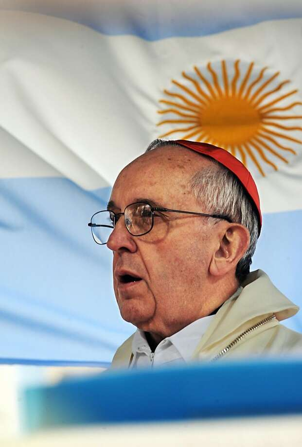"Argentine primate Cardinal Jorge Bergoglio delivers his homily at the church of San Cayetano (St.Cajetan) in Buenos Aires on August 7, 2009. A crowd of Catholic faithful called for bread and work on a pilgrimage to the sanctuary of San Cayetano, after which Pope Benedict XVI urged Argentines to strive to ""reduce the scandal of poverty"" in a global food producer. Photo: Daniel Garcia, AFP/Getty Images"
