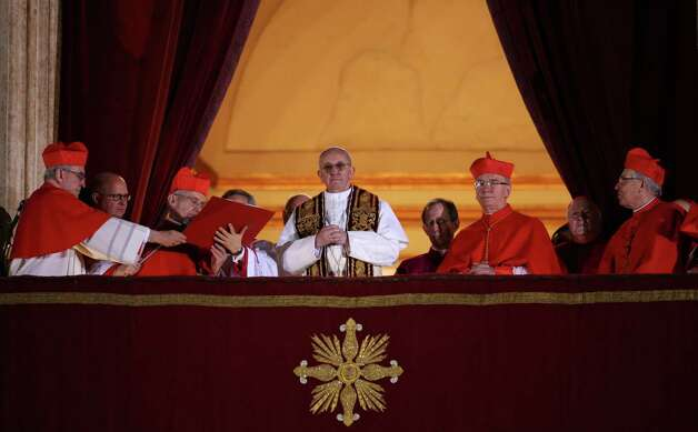 Newly elected Pope Francis I appears on the central balcony of St Peter's Basilica on March 13, 2013 in Vatican City, Vatican. Argentinian Cardinal Jorge Mario Bergoglio was elected as the 266th Pontiff and will lead the world's 1.2 billion Catholics. Photo: Peter Macdiarmid, Getty Images / 2013 Getty Images
