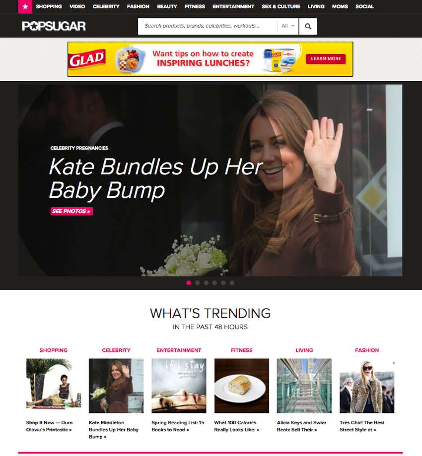 The POPSUGAR homepage includes photo galleries and videos with popular content from categories like celebrities, fashion, beauty, entertainment, fitness, living and more. Content can be viewed in three different ways and is curated to user preferences.