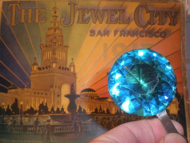 Jewel from the Tower of Jewels, an exhibit at the Panama Pacific International Exhibition, held in San Francisco in 1915, courtesy of Donna Ewald Huggins. Ms. Huggins has the largest PPIE collection known.