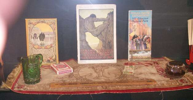 Vintage items from the Panama Pacific International Exhibition, held in San Francisco in 1915, courtesy of Donna Ewald Huggins. Ms. Huggins has the largest PPIE collection known.