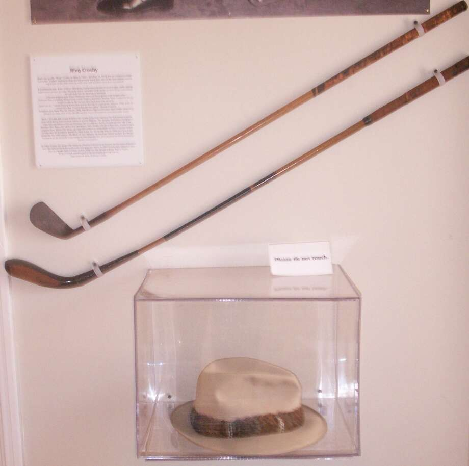 Bing Crosby's golf clubs and favorite hat, courtesy of Kathryn Crosby (Mrs. Bing Crosby).