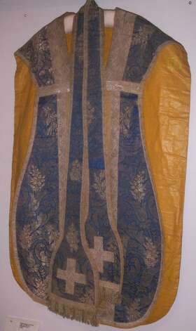 Rare 18th century vestment, on loan from the Mission Dolores, courtesy of Andrew Galvan and the bishop.