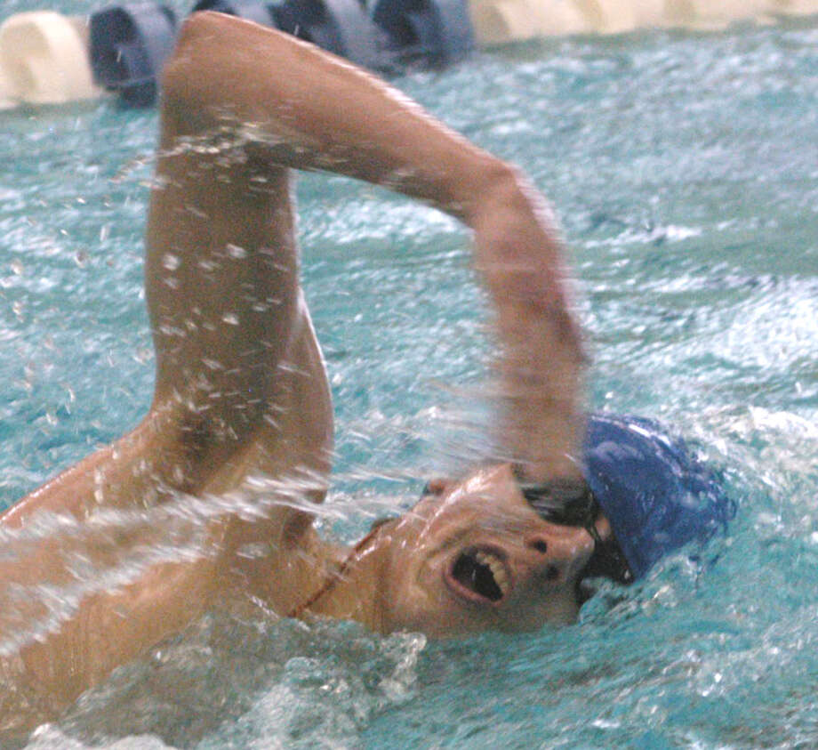 Ray Cook of the Spartans competes in the 200-yard freestyle for Shepaug Valley High School during the Berkshire League championship meet at Hotchkiss School in Lakeville, March 2, 2013 Photo: Norm Cummings